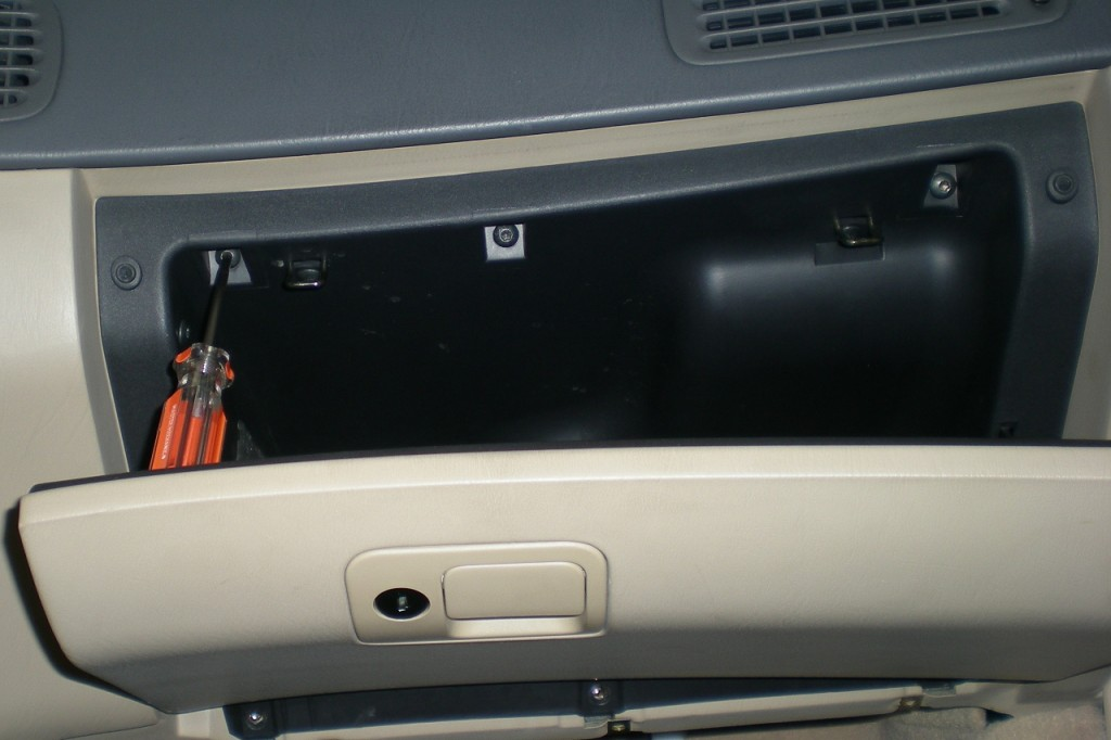 Glove compartment upper mounting screws