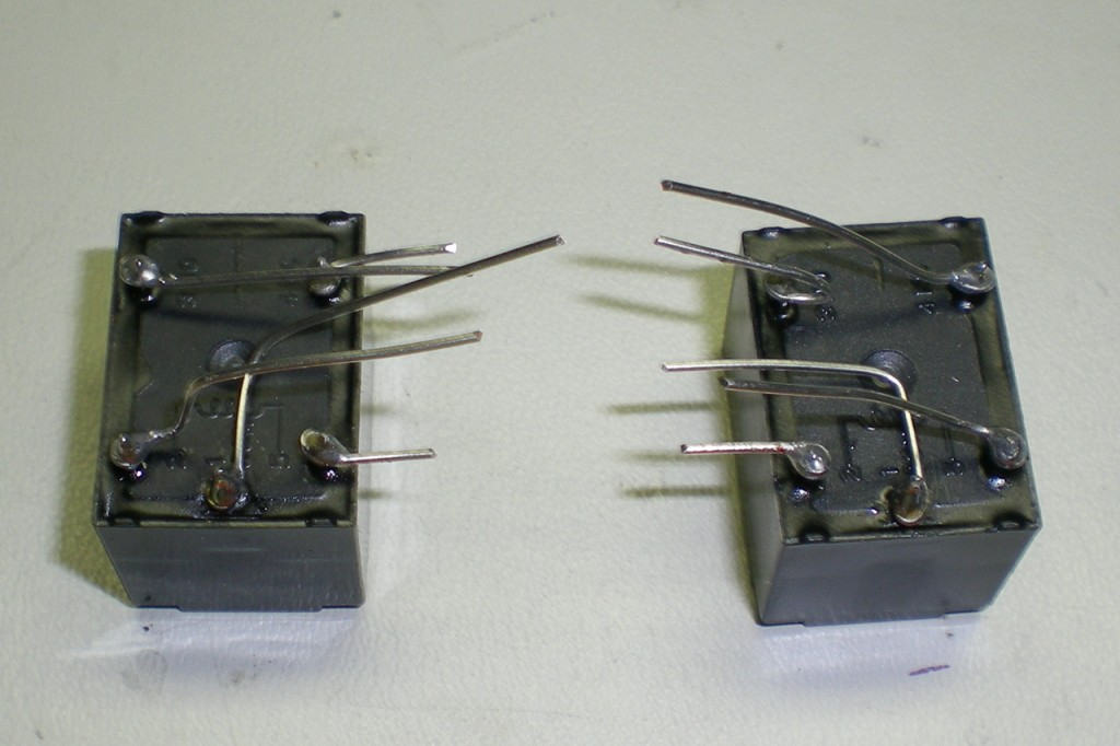 Two relays with prepared leads